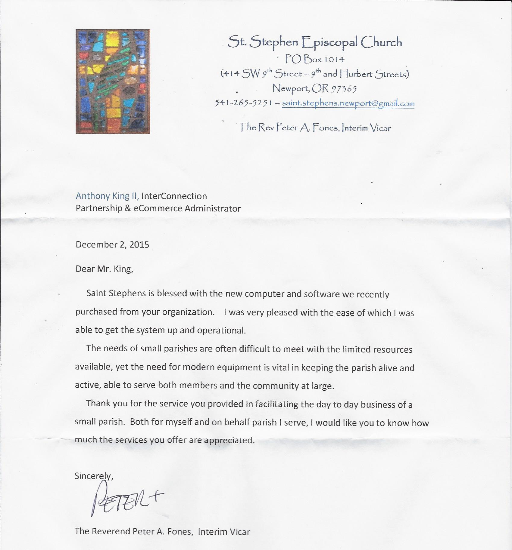 Church thank you letter